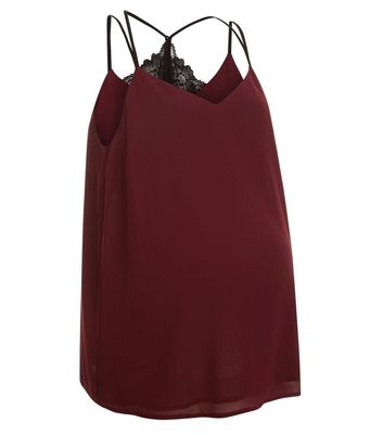 Maternity Burgundy Lace Trim Back Cami Top New Look