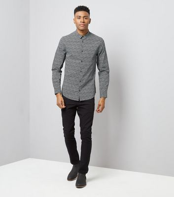 Dark Grey Geometric Print Shirt New Look