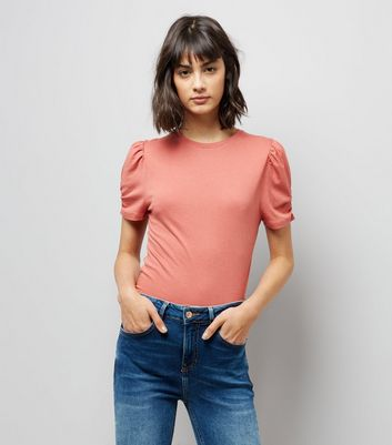 Tall Pale Pink Ruched Sleeve T-Shirt New Look