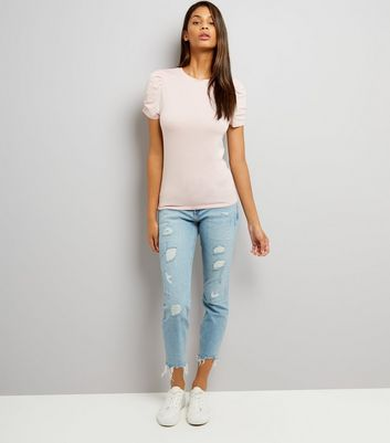 Tall Pink Ruched Sleeve T-Shirt New Look