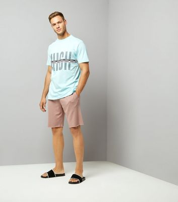 Pale Blue Vibes Tape Print T-Shirt New Look