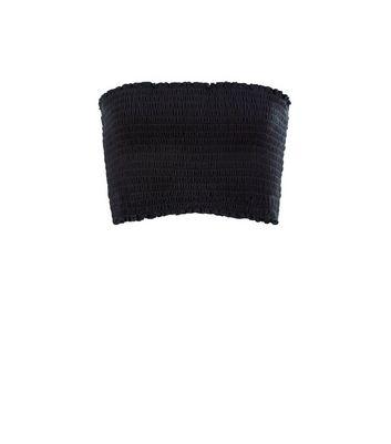 Teens Black Shirred Bandeau Crop Top New Look