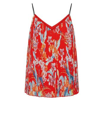 Petite Red Floral Plisse Cami Top New Look