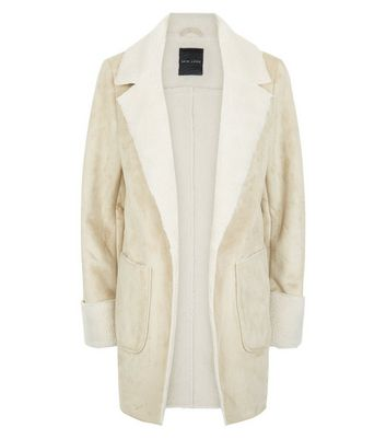 Stone Faux Shearling Double Pocket Coat New Look