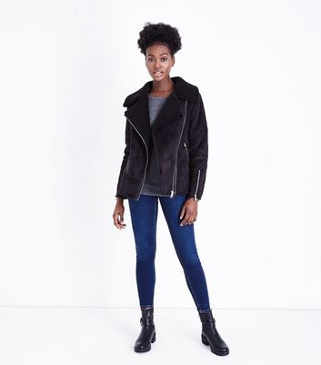 Black Faux Fur Shearling Biker Jacket New Look