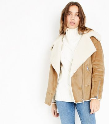 Tan Faux Fur Shearling Biker Jacket New Look