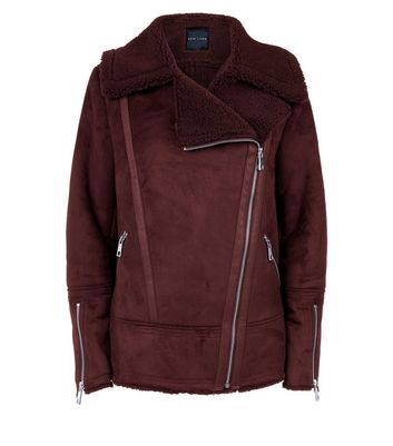 Burgundy Faux Shearling Biker Jacket New Look