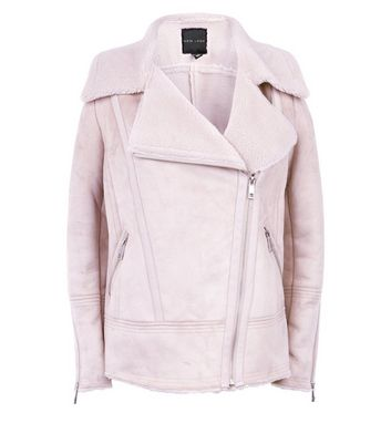 Pink Faux Shearling Biker Jacket New Look