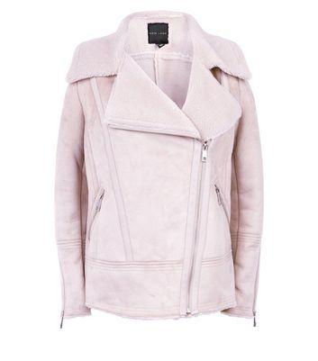 Pink Faux Shearling Biker Jacket New Look