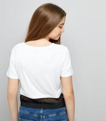 Teens White Contrast Mesh Hem T-Shirt New Look