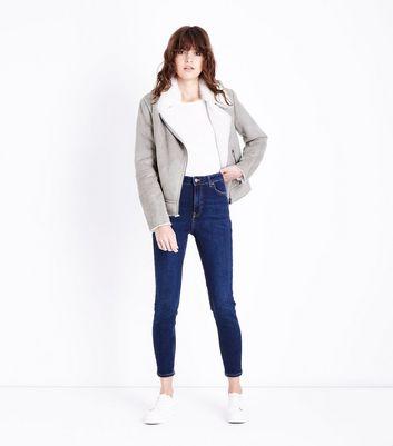 Mink Suedette Faux Fur Collar Biker Jacket New Look