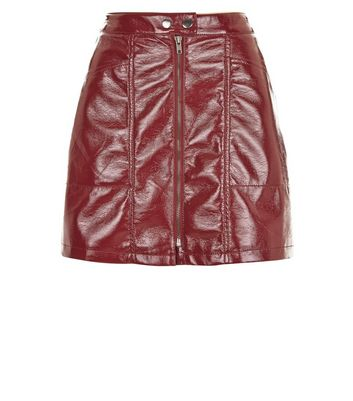 Petite Red Leather-Look Mini Skirt New Look