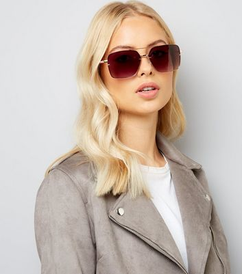 Rose Gold and Burgundy Oversized Square Sunglasses New Look