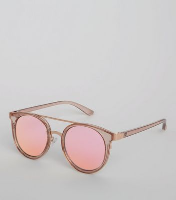 Pink Lens Mirrored Glasses New Look