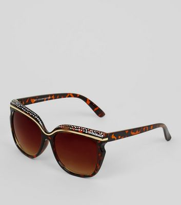 Brown Tortoiseshell Embellished Sunglasses New Look