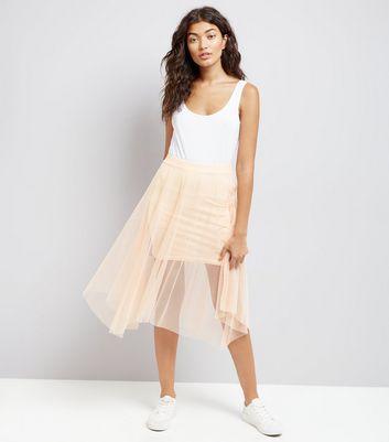 Shell Pink Mesh Hanky Hem Skater Skirt New Look
