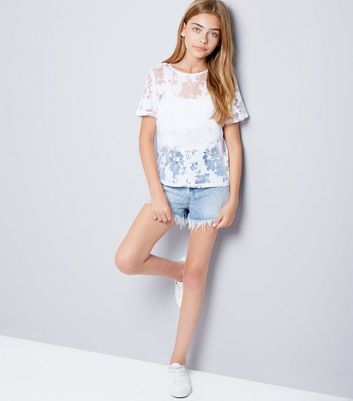 Teens White Floral Burnout T-Shirt New Look