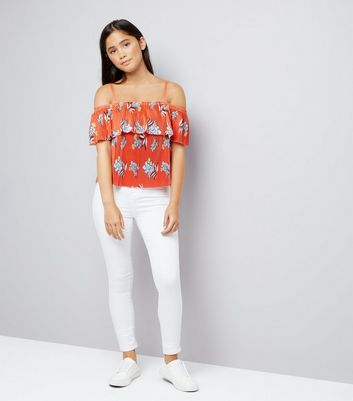 Teens Red Tropical Print Cold Shoulder Cami New Look