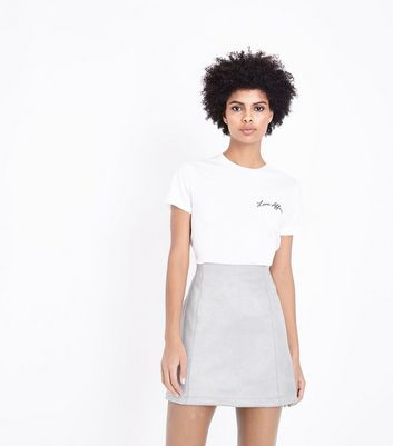 Pale Grey Suedette Mini Skirt New Look