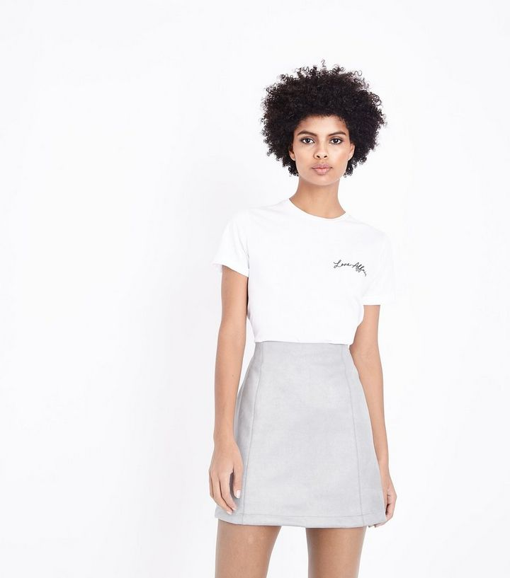 31f8495977c50 Pale Grey Suedette A-Line Mini Skirt Add to Saved Items Remove from Saved  Items