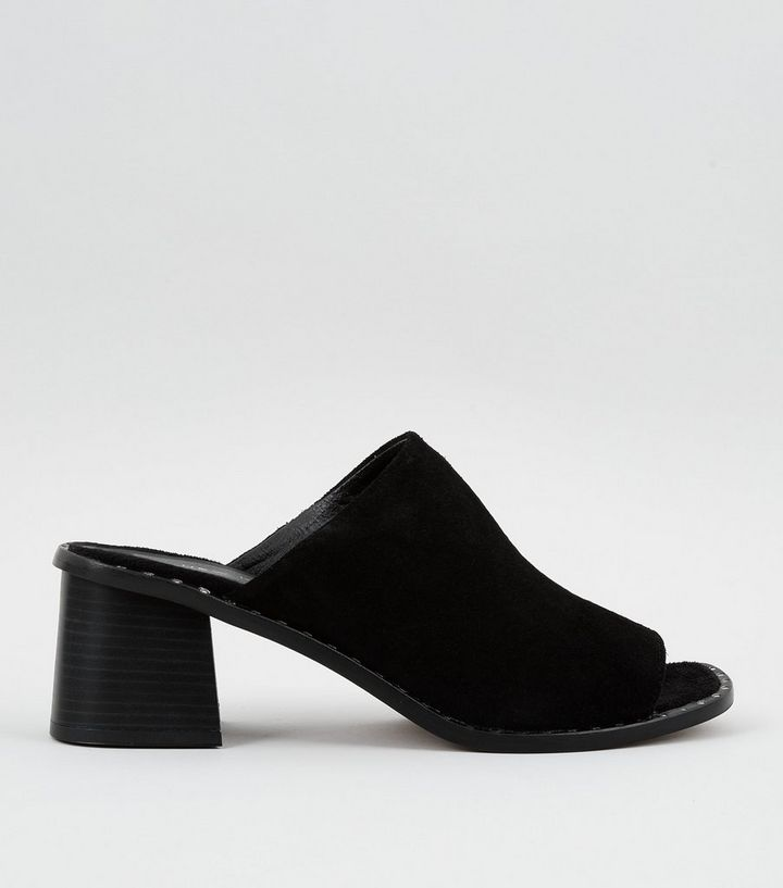 2d03e11c4af Black Premium Suede Stud Trim Heeled Mules Add to Saved Items Remove from  Saved Items