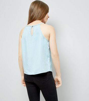 Teens Pale Blue Lattice Front High Neck Cami New Look