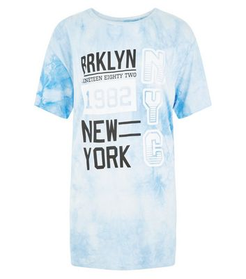 Teens Blue Tie Dye Brooklyn T-Shirt New Look