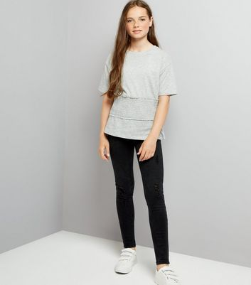 Teens Grey Shirred Waist T-Shirt New Look