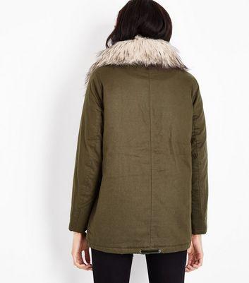 Khaki Faux Fur Collar Short Parka New Look