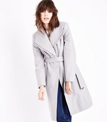 Grey Layered Collar Belted Coat New Look