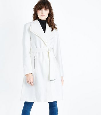 Cream Layered Collar Belted Coat New Look