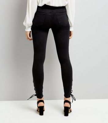 Black Lace Up Skinny Jenna Jeans New Look