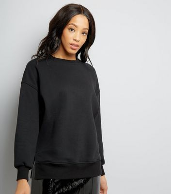 Black Slouchy Side Split Sweatshirt New Look