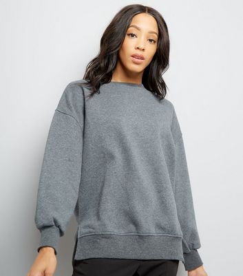 Dark Grey Slouchy Side Split Sweatshirt New Look