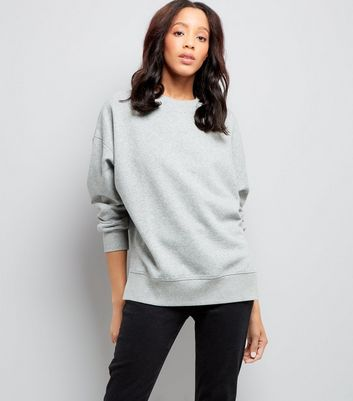 Grey Slouchy Split Side Sweatshirt New Look
