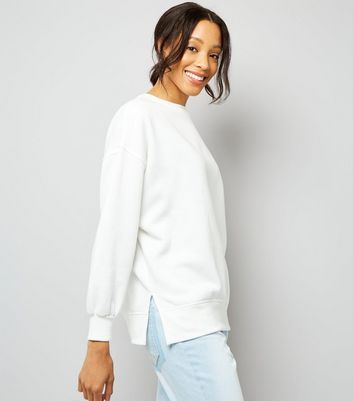 White Slouchy Split Side Sweatshirt New Look