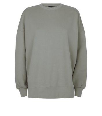 Khaki Slouchy Split Side Sweatshirt New Look