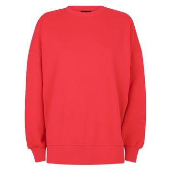 Red Slouchy Split Side Sweatshirt