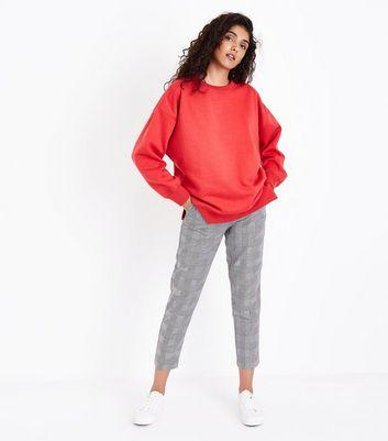 Red Slouchy Split Side Sweatshirt New Look