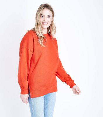 Orange Slouchy Side Split Sweatshirt New Look