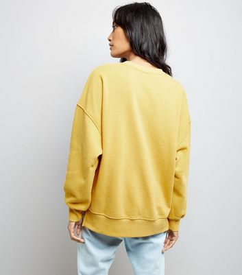 Mustard Yellow Slouchy Split Side Sweatshirt New Look