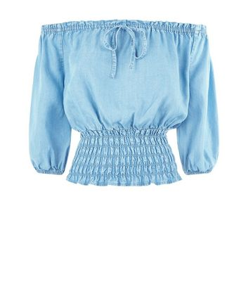 Blue Elasticated Bardot Neck Top New Look