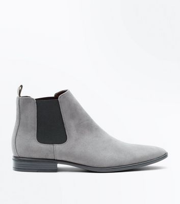 Grey Suedette Chelsea Boots New Look