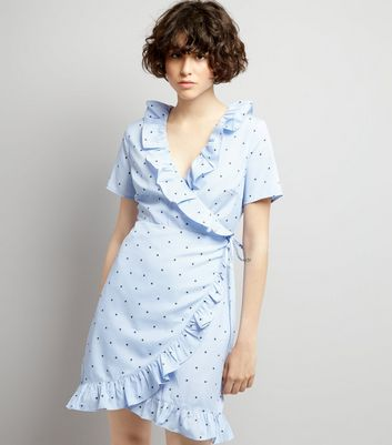 Blue Stripe and Star Print Frill Trim Wrap Dress New Look