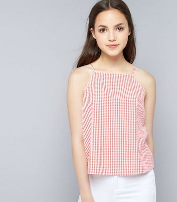 Teens Red Gingham Seersucker High Necki Cami New Look