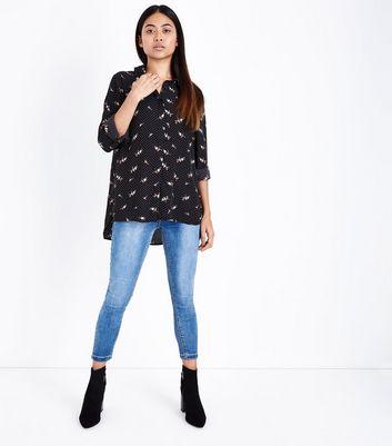 Petite Black Polka Dot Bird Print Shirt New Look