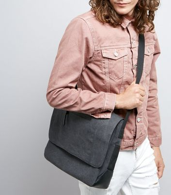 Black Canvas Messenger Bag New Look