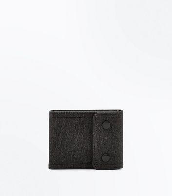 Black Popper Wallet New Look