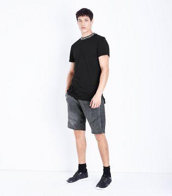 Black Text Neck Ringer T-Shirt New Look