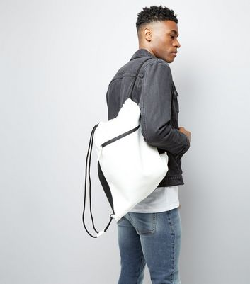 White Zip Front Drawstring Bag New Look